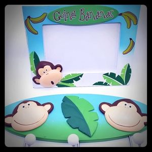 Monkey decor, picture frame and hanging decor